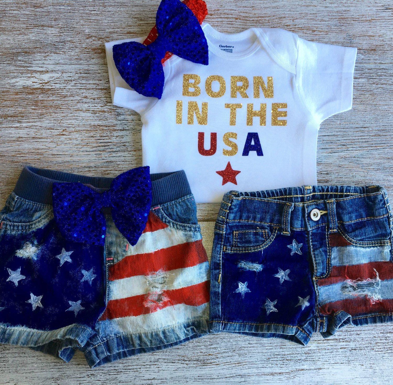 """Patriotic Baby Girl Baby Girl s Rockin Jean Denim Shorts """"Born In"""