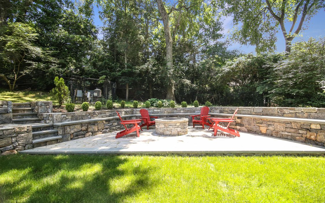 patio and amazing firepit area | Fire pit landscaping ... on For Living Lawrence Fire Pit id=38041