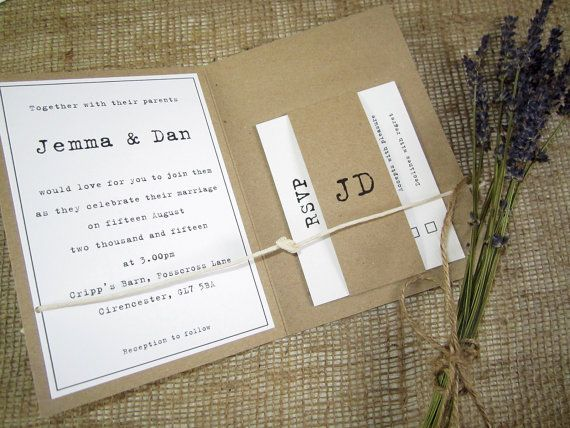 Tying the Knot rustic wedding invitation with string knot kraft