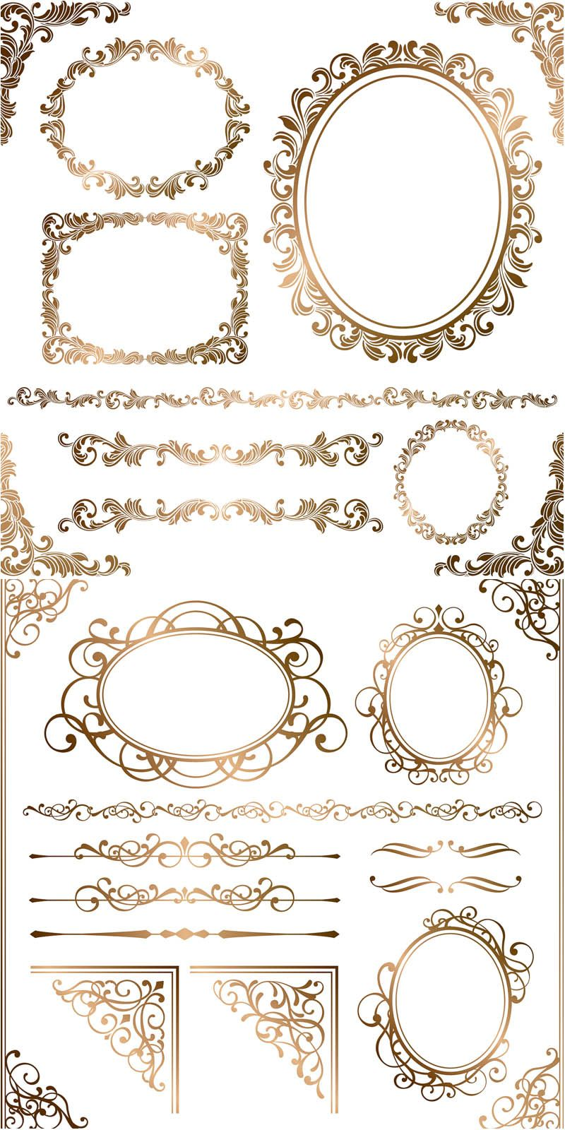 Baroque floral frames, corners and borders vector