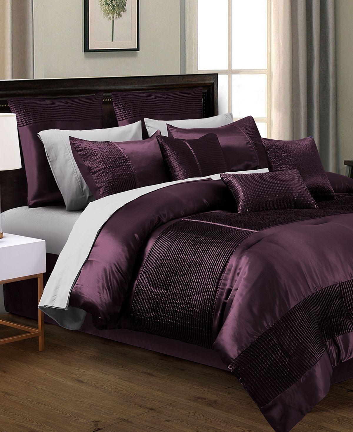 Kellen 200 Thread Count 14 Pc California King Comforter Set Luxury Bedding Bedroom Comforter Sets Comforter Sets Purple california king comforter sets
