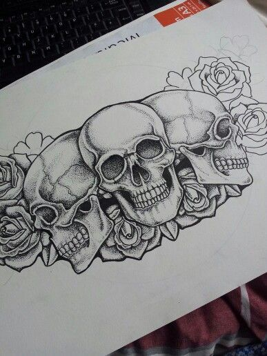 Dot Skull And Roses Chest Piece Tattoo In Progress Chest Piece Tattoos Pirate Skull Tattoos Pieces Tattoo
