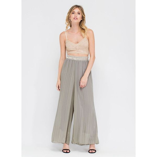 GREEN Pleats And Thanks Wide Leg Pants (£7.50) ❤ liked on Polyvore featuring pants, green, woven pants, pleated wide leg pants, elastic waist wide leg pants, pleated trousers and sheer wide leg pants