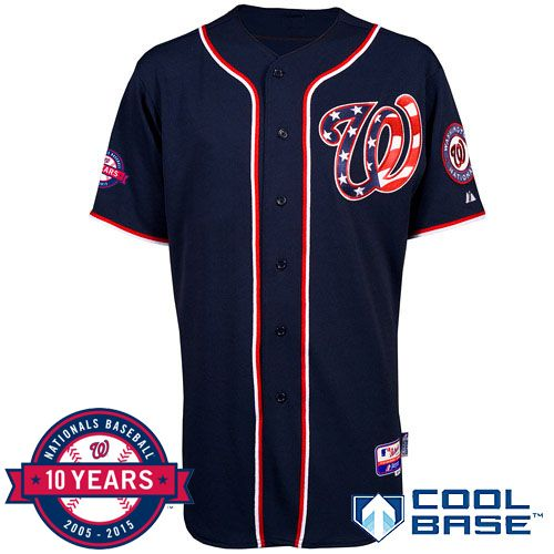 NEW   Washington Nationals Authentic Alternate 2 Jersey w Commemorative  10th Anniversary Patch dddecd483