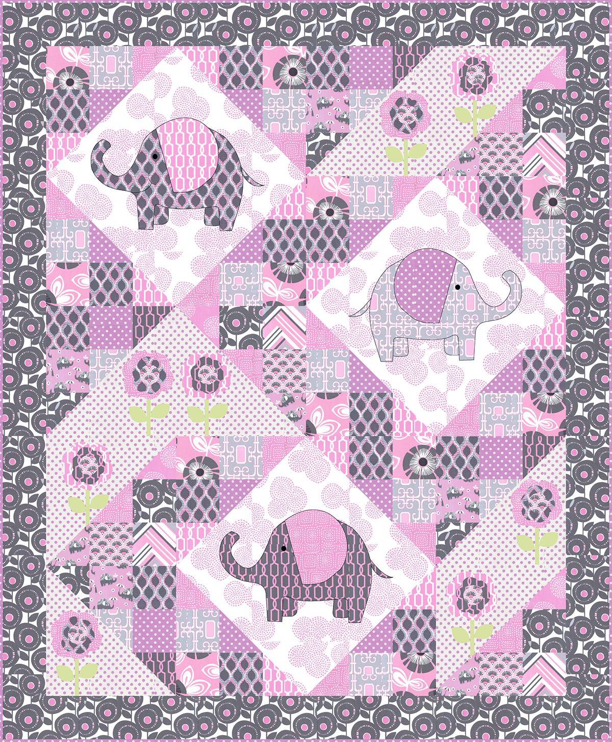 free pattern ~ Elephant pop Quilt, including elephant