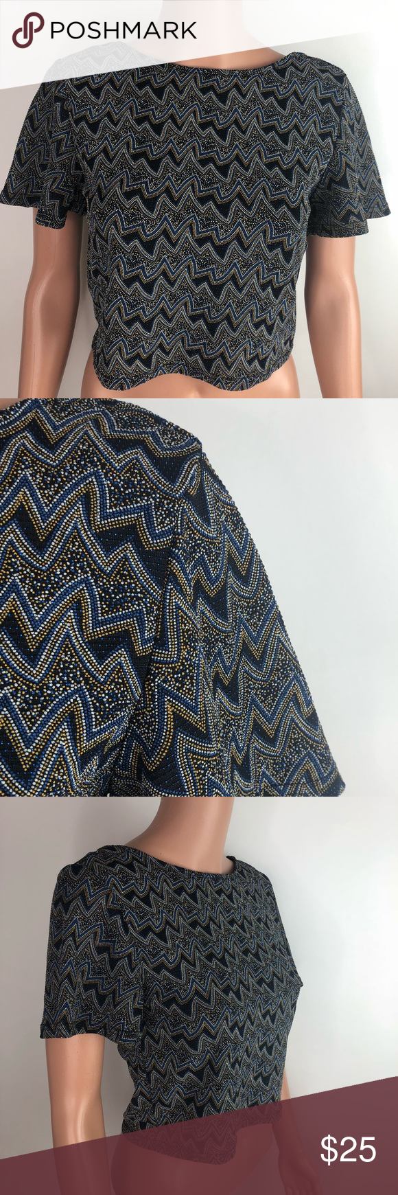 de1d16a29d1a86 NWT Zara Beaded Patterned Knot Tie Croptop NWT Zara Beaded Patterned Knot  Tie Croptop New with