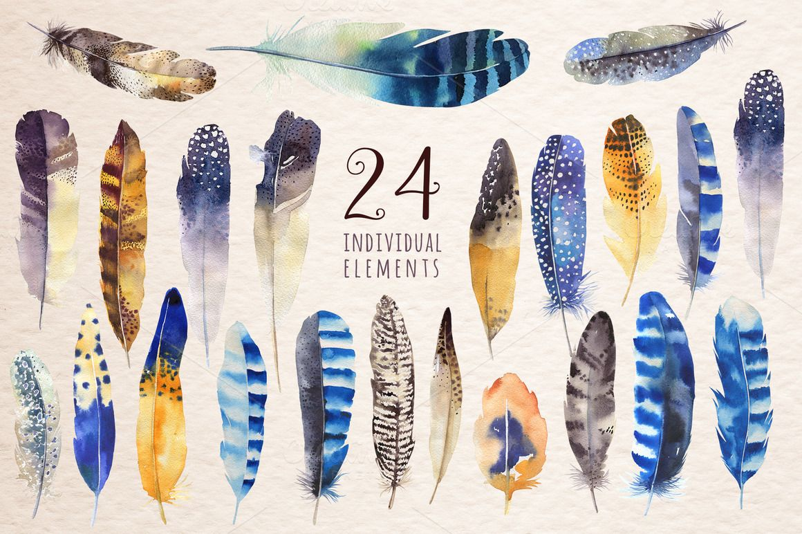 This set of high quality hand painted watercolor feathers.Boho style. Perfect graphic for DIY, wedding invitations, greeting cards, quotes, blogs, posters and more. You will receive: - 24