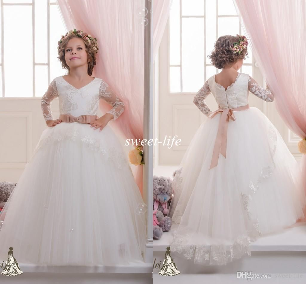 long sleeves flower girls dresses ball gown tutu lace sash with