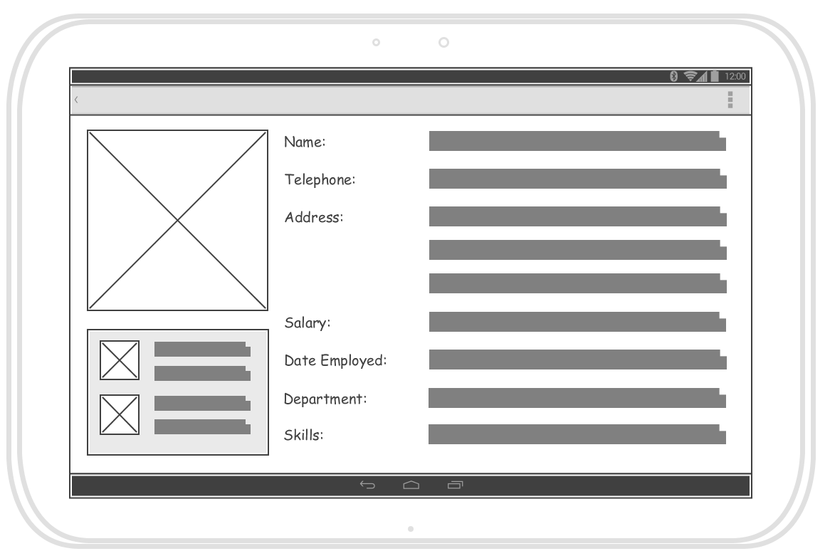 Android Tablet Wireframe Example For An Employee Form This