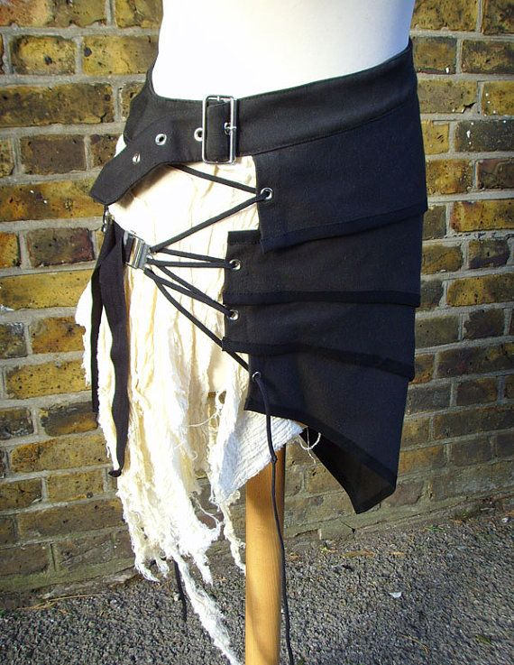 Post apocalyptic asymmetric over skirt by houseofhirudinea on Etsy