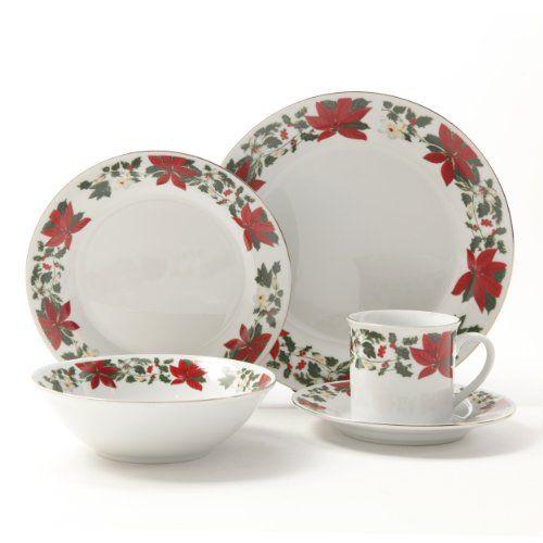 Gibson Poinsettia Holiday Dinnerware Set, 20-Piece - List price ...