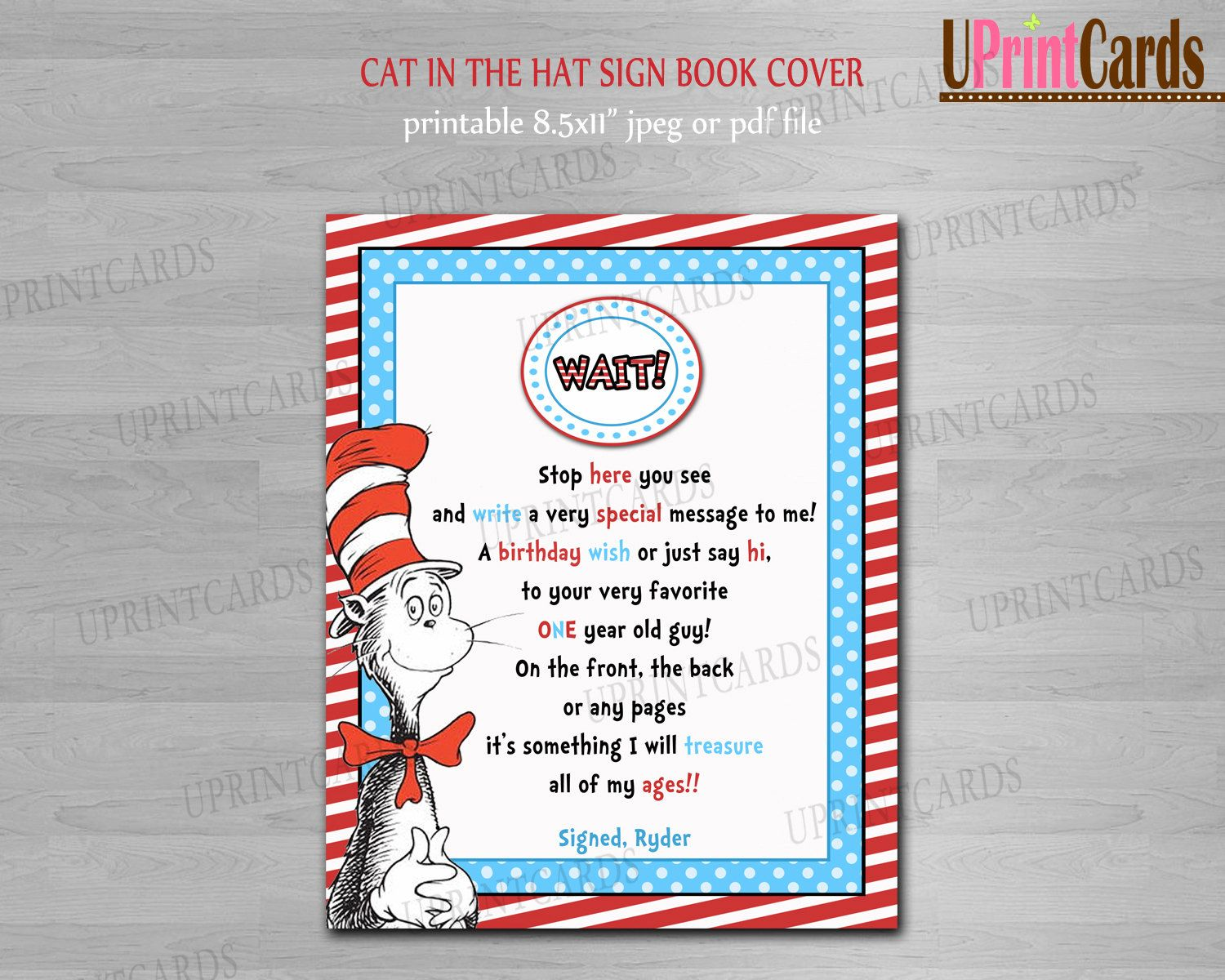 printable personalized dr seuss cat in the hat guest book sign