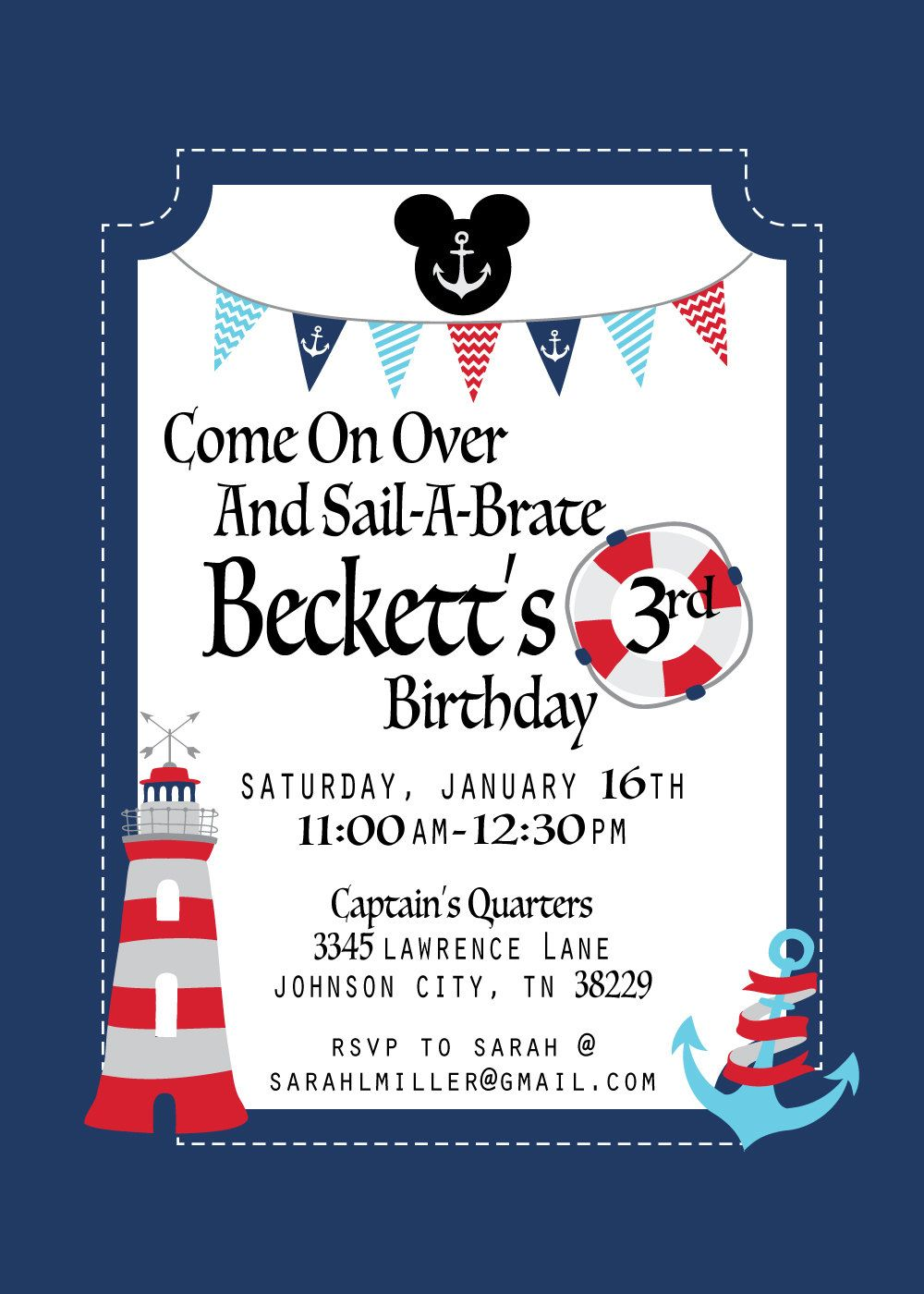 Nautical Mickey Mouse Birthday Invitation Nautical Mickey Mouse