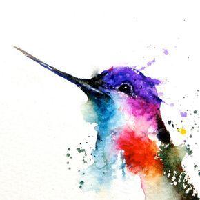Hummingbird Acuarela Arte Impresion Colibri Pintura Por Dean