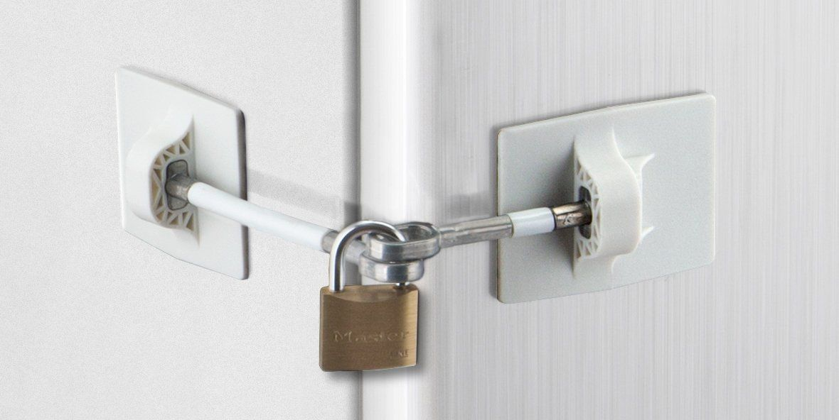 Marinelock White Refrigerator Door Lock NO PADLOCK