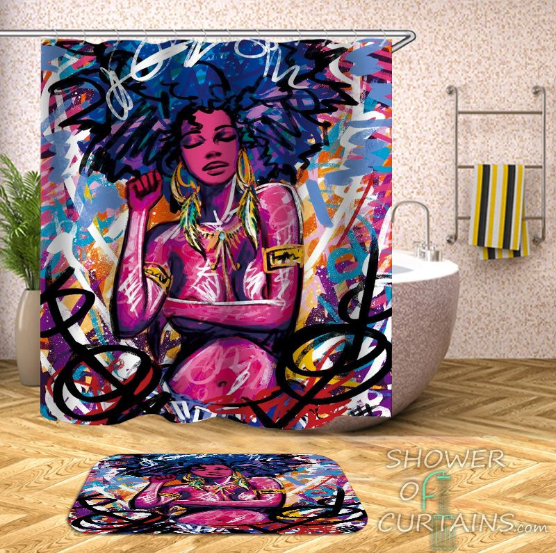Crazy Colors African Beauty Shower Curtain - HXTC0707