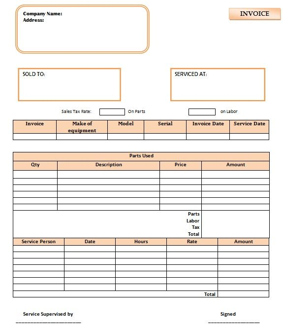 parts and labor invoices for contractors 6 word pdf templates template sumo