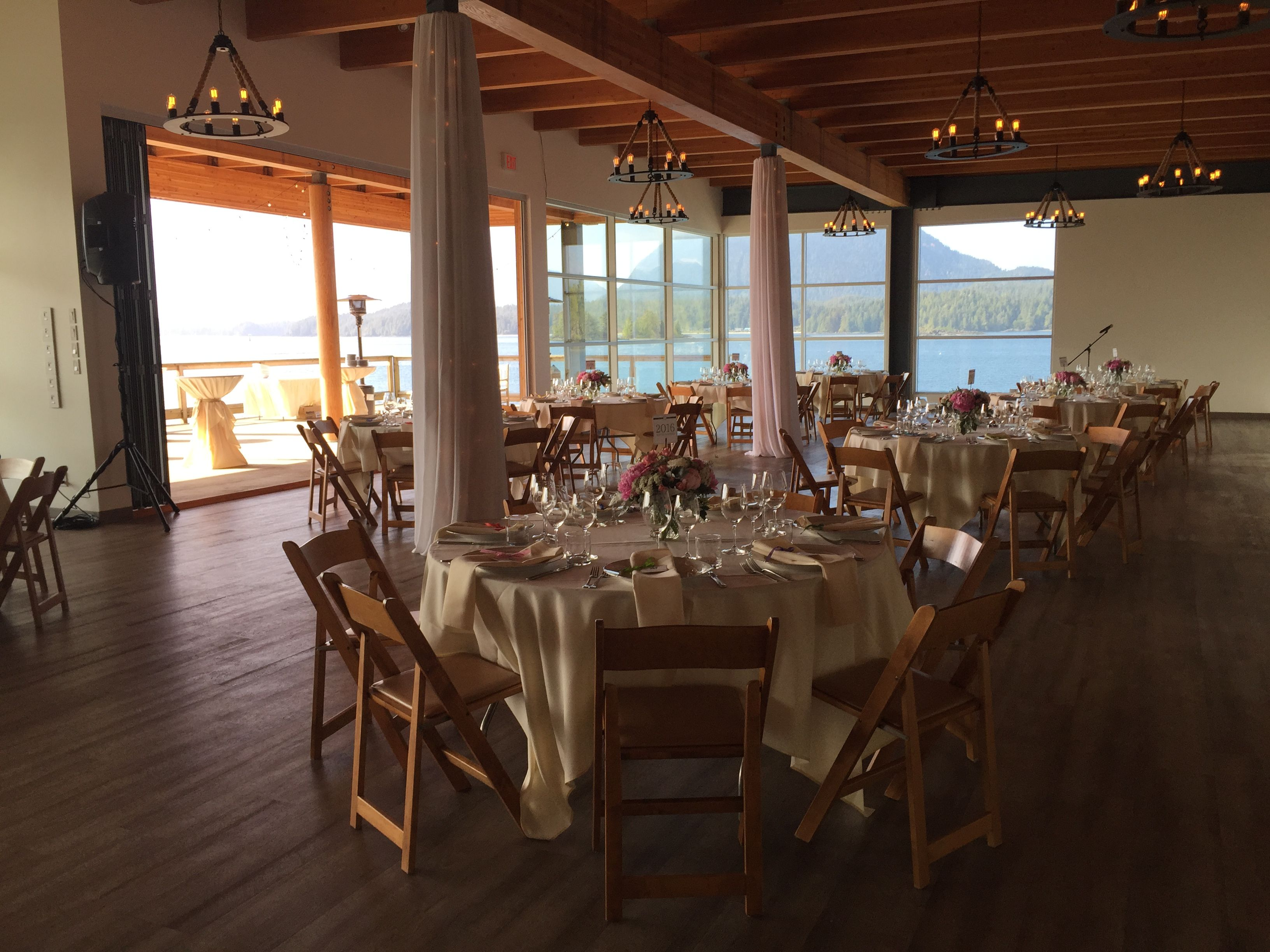 folding chair rental vancouver wedding reception without covers the shores tofino bc may 2015 island nanaimo diy venue drapes poles wood chairs ivory linens decor rentals