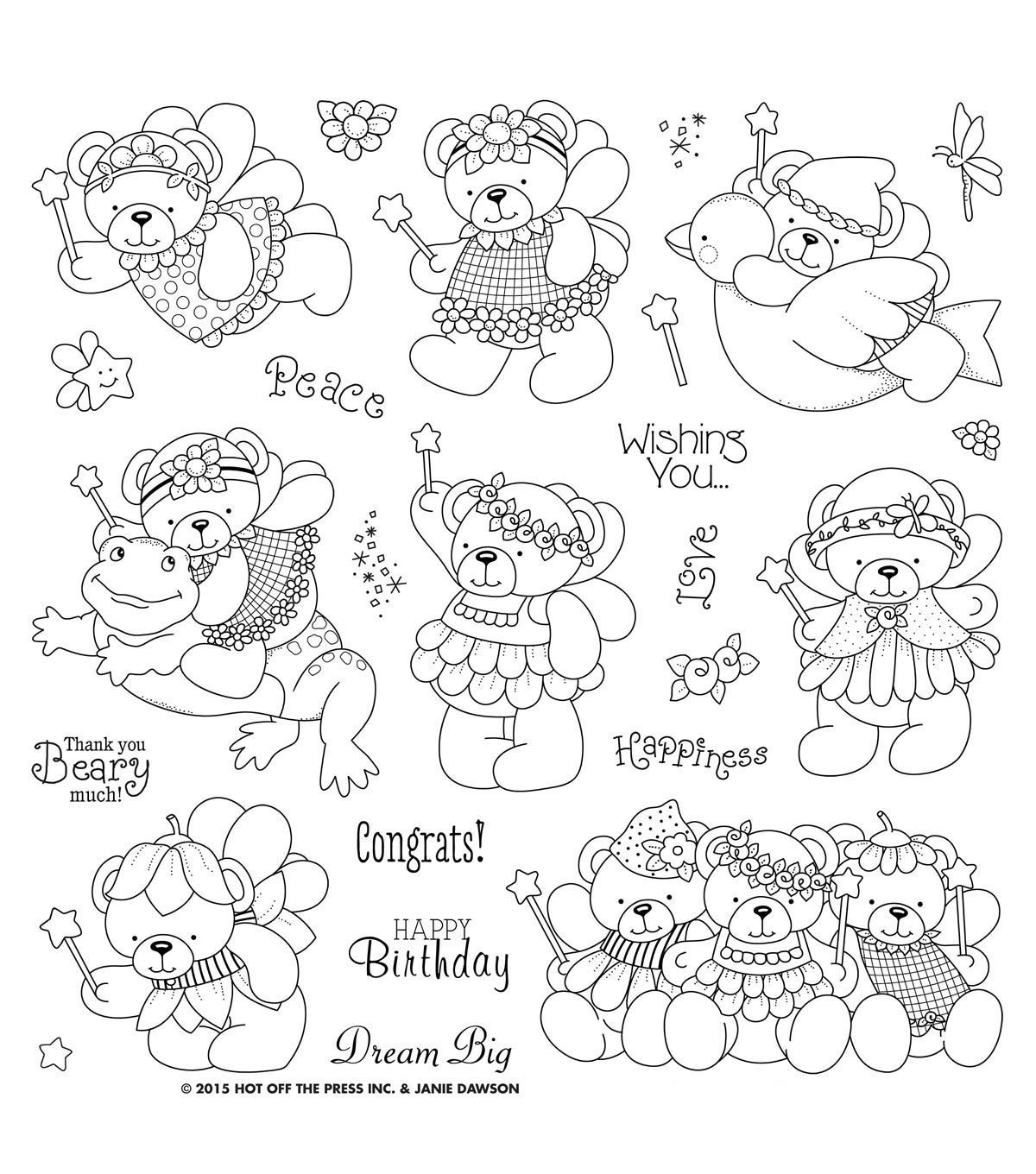 Hot Off The Press Acrylic Stamps 8 X8 Sheet Janie S Beary