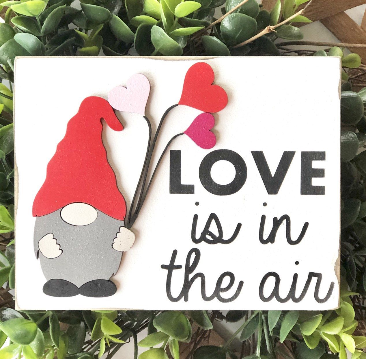 Tiered tray gnome valentine's 3D wood sign | tier tray decor #tieredtraydecor