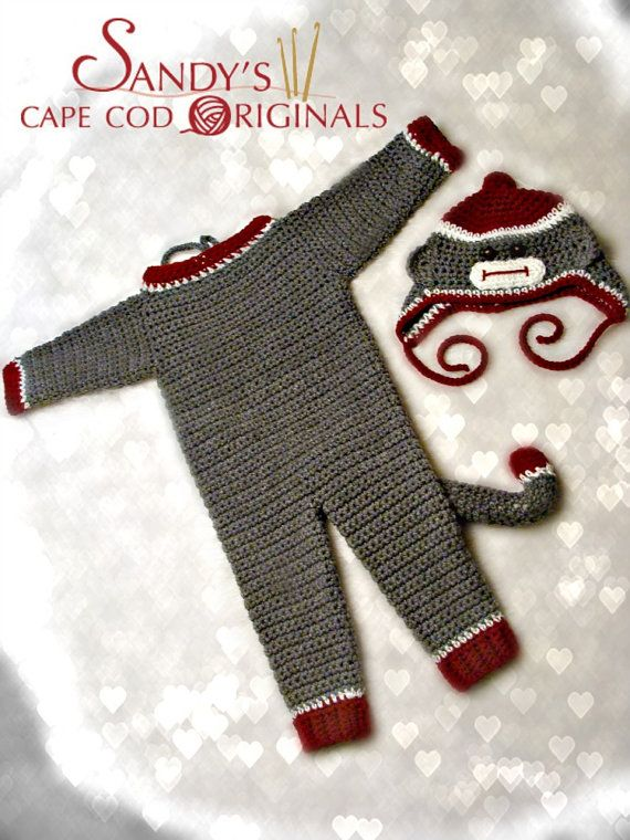 Sock Monkey Coverall Set Crochet Pattern PDF 637 | Kinderkram und Häkeln