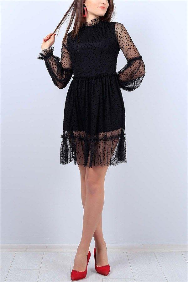 Photo of 51,95 TL Black Flock Polka Dot Ladies Dress 11301B   Our Fashion …