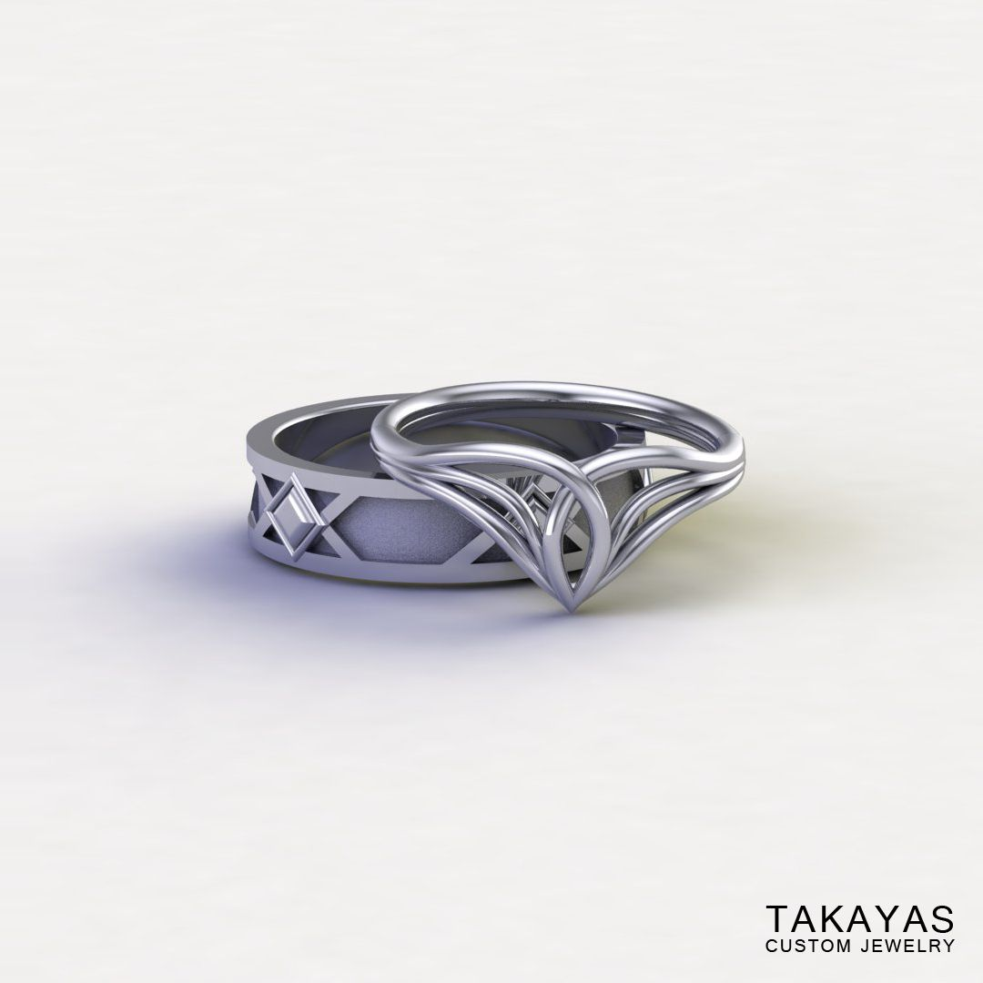 Lord Of The Rings Inspired Elven Wedding Ring Set Rings For Men