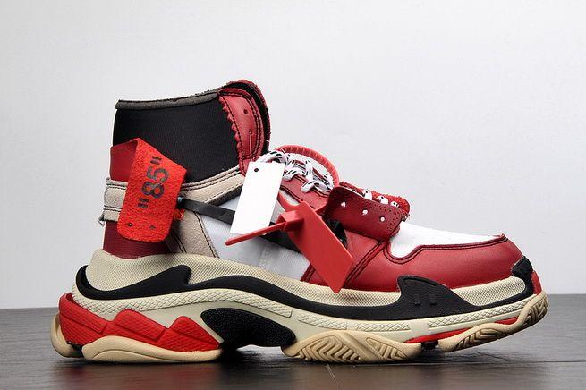 check out 63a39 2e711 Genuine OFF WHITE Nike Air Jordan 1 x Balenciaga Triple S Black Red On Line