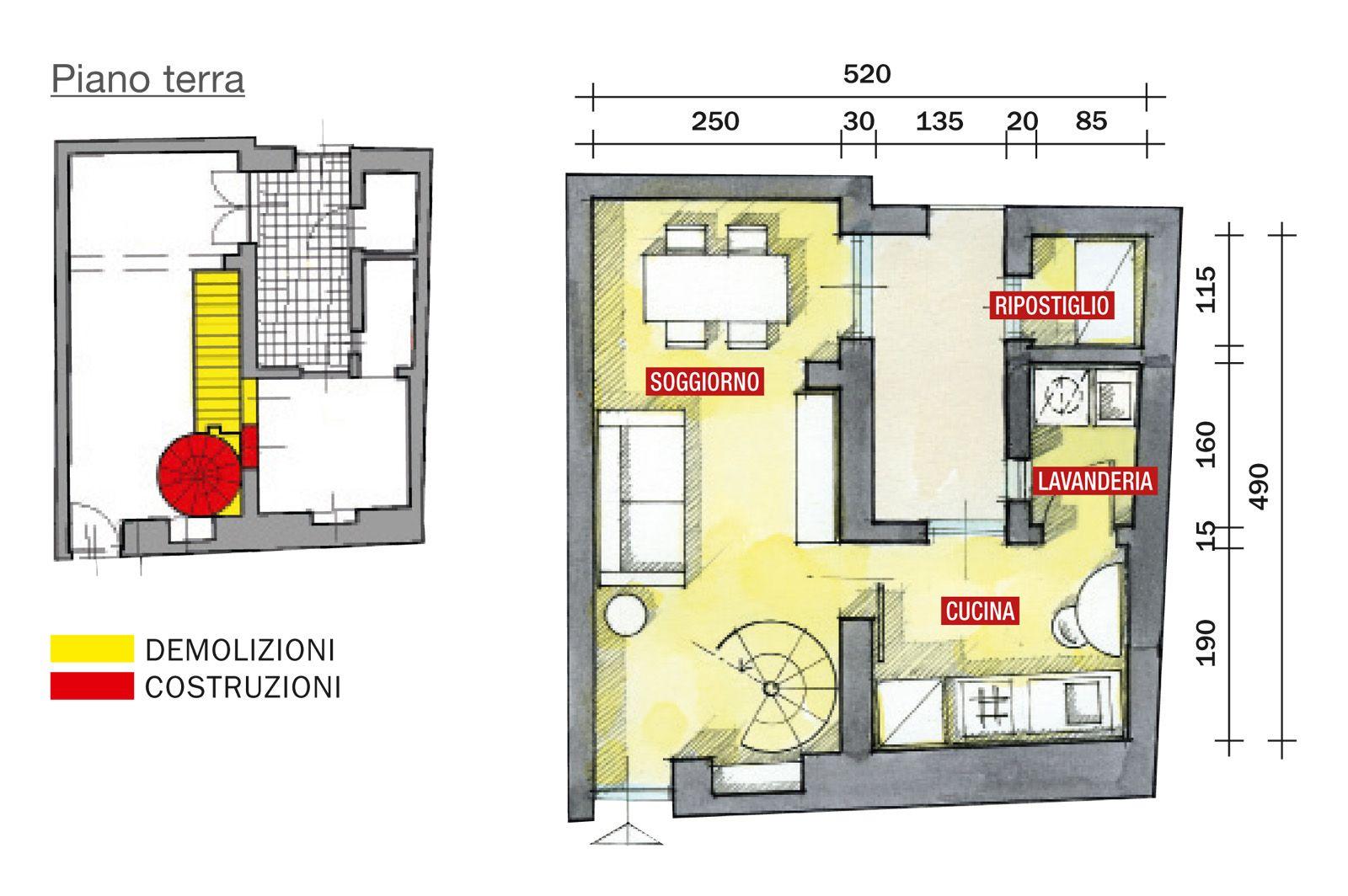 48 mq bilocale su due livelli cose di casa idee per for Piccole planimetrie