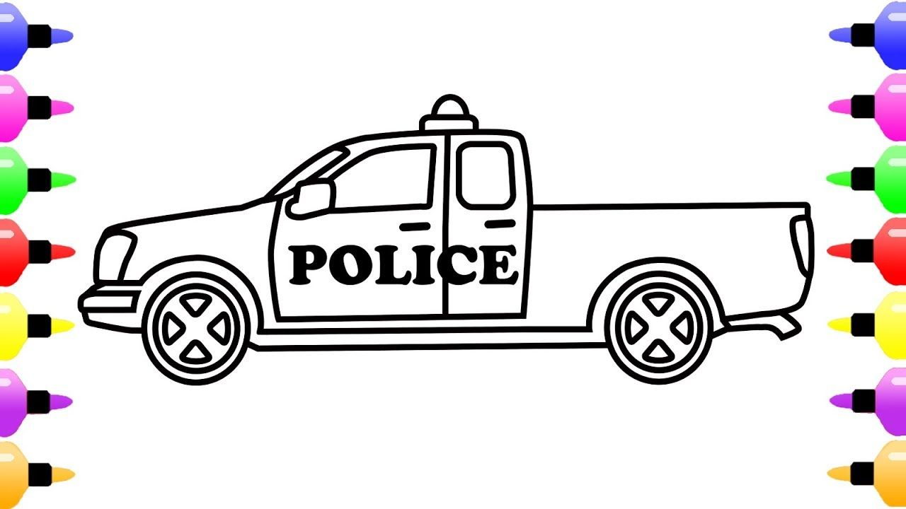 how to draw a police car coloring pages for kids learn colors for kids with colored marker. Black Bedroom Furniture Sets. Home Design Ideas
