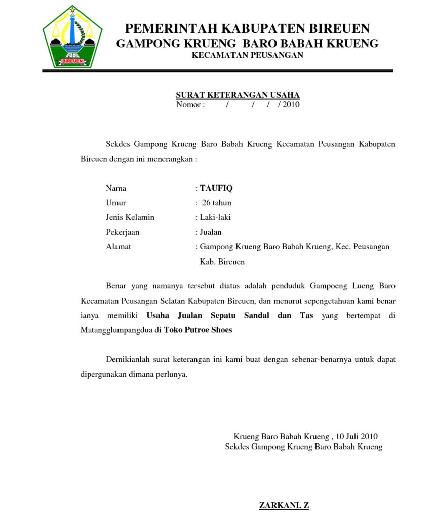 Contoh Surat Keterangan Usaha Sku Surat Pengusaha Pemerintah