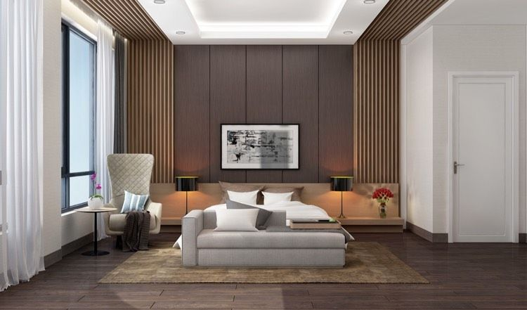 Holzlamellen an Wand und Decke im Schlafzimmer | Schlafzimmer ...