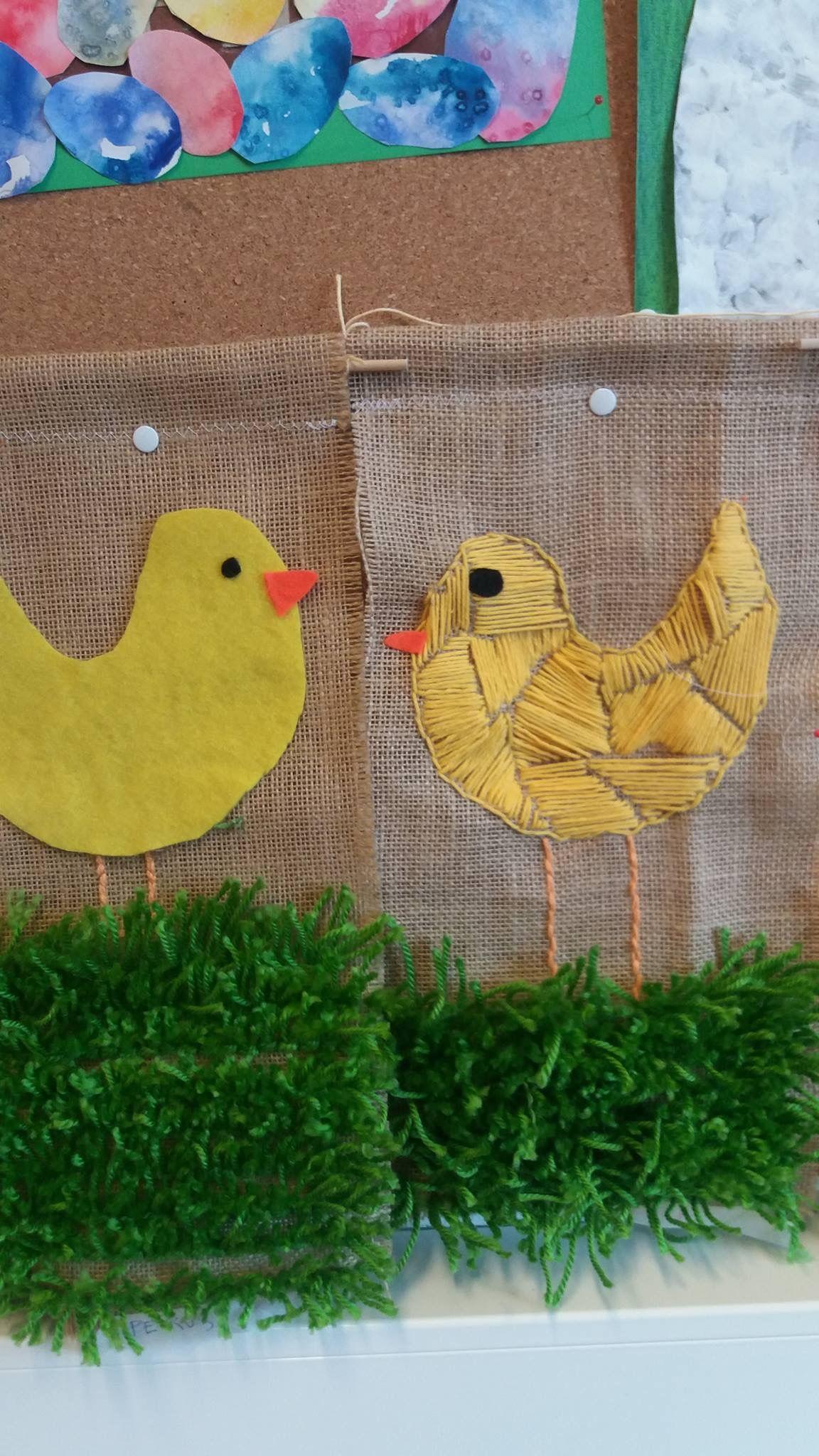 Fiber Arts Embroidered Chicks