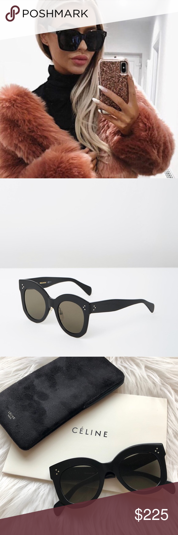 b1b3ef16c6c1d NEW    Céline CL 41443 Chris Sunglasses Authentic Céline CL 41443 S 06Z Chris  Round Sunglasses. 50-24-155mm. Black acetate frame with grey lenses.