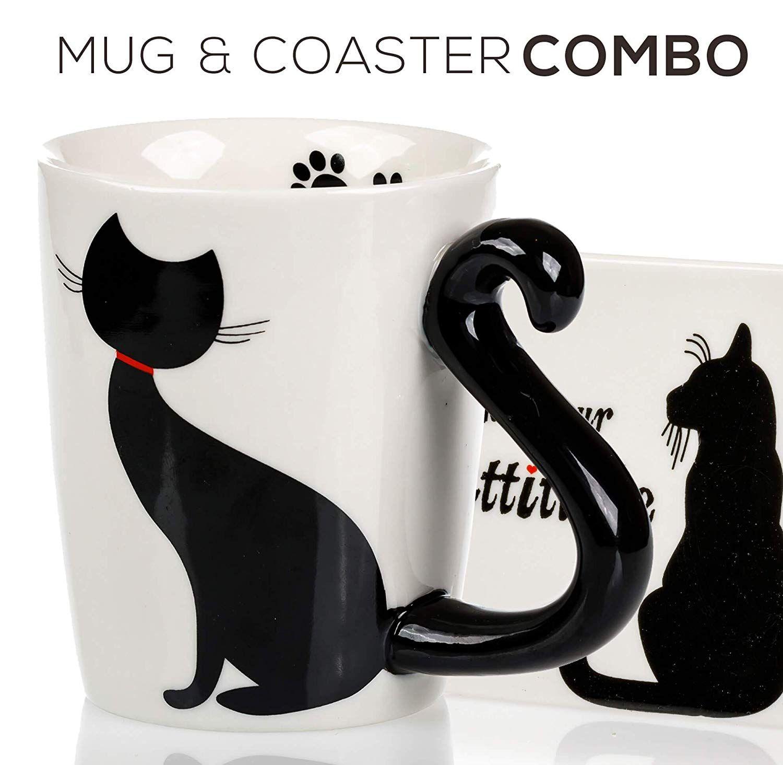 Black Kitty 3d Ceramic Coffee Mug Gift Set Coaster Gift Set Mugs Cute Coasters