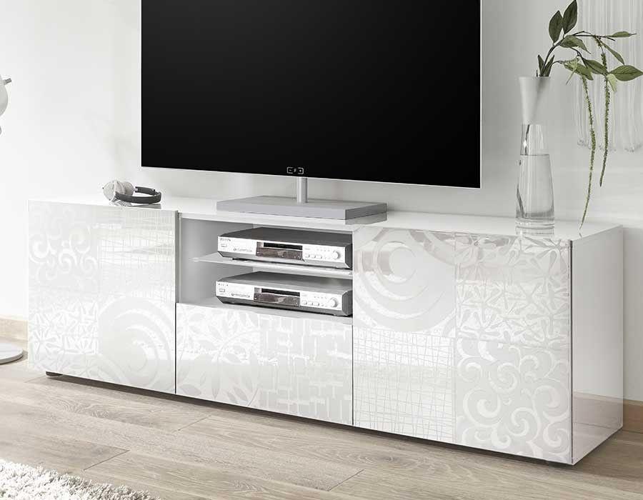 Meuble Television Blanc Laque Design Hcommehome Meuble Tv Et