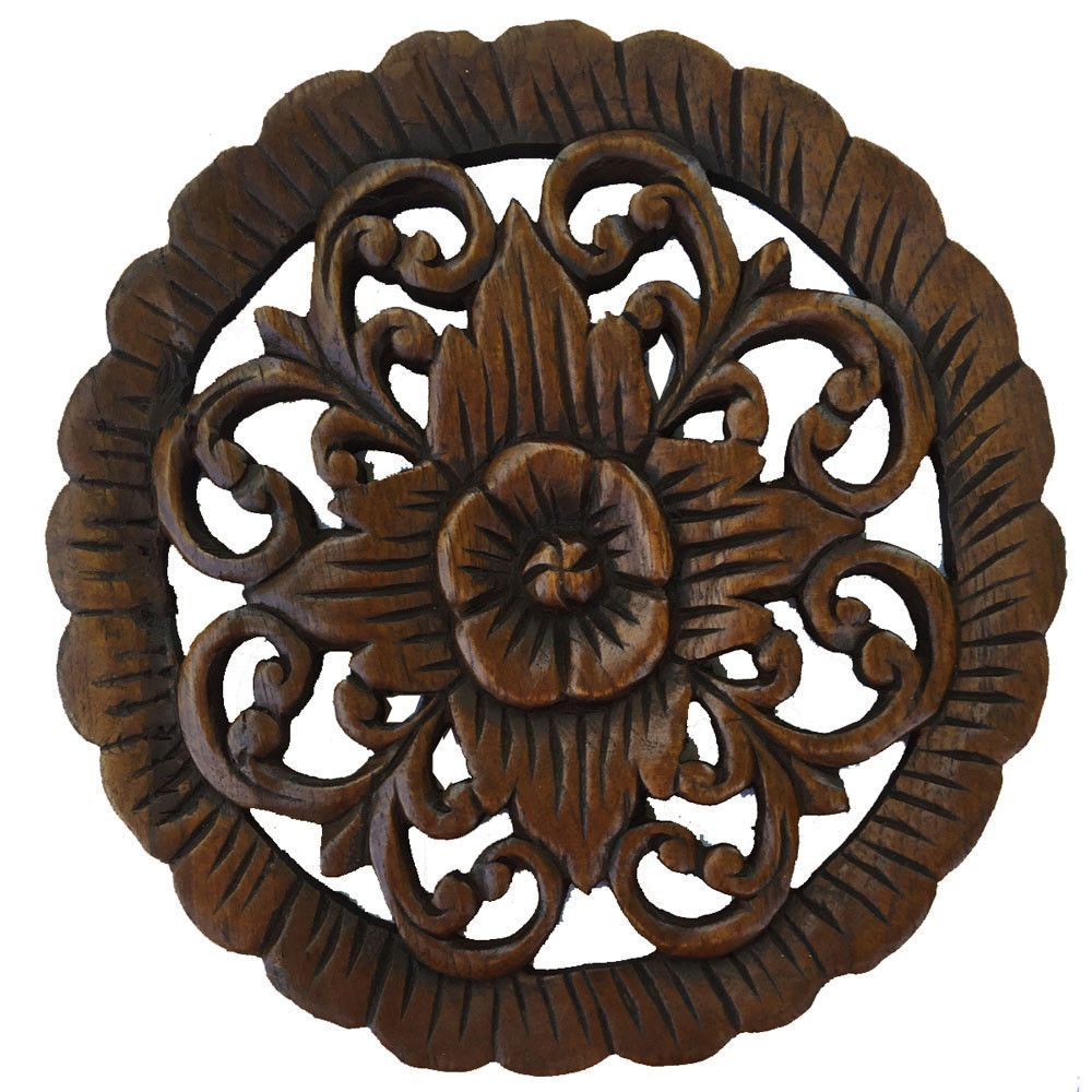 Wood wall plaque round carved wood floral wall decor natural wood