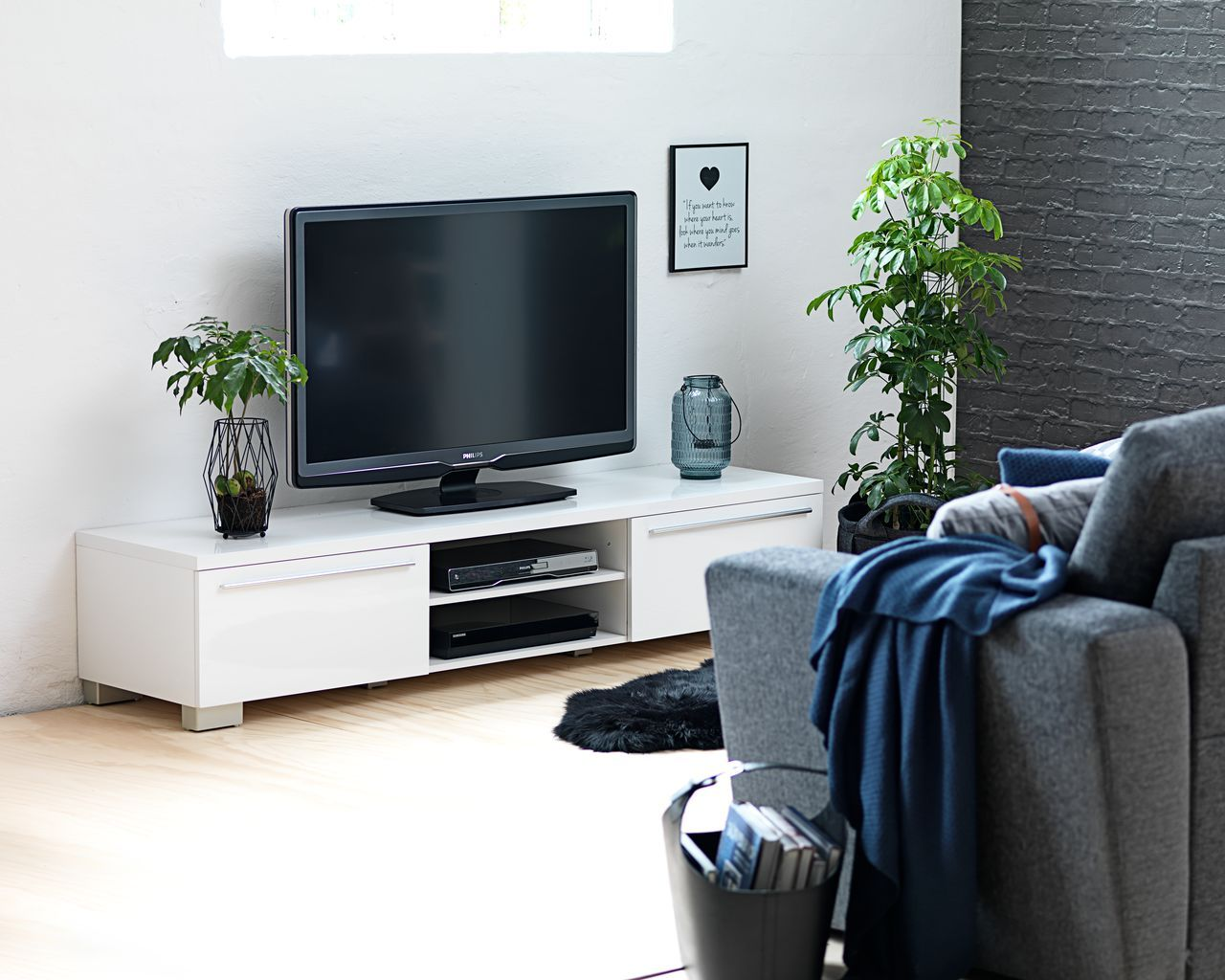 Tv Meubel Aakirkeby 2 Lades Hoogglans.Tv Meubel Aakirkeby Wit Hoogglans Meubels Tv Bank En Tv Meubels