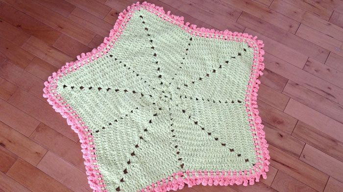 This Crochet Baby Blanket Star Measures About 43 Across The Tips And