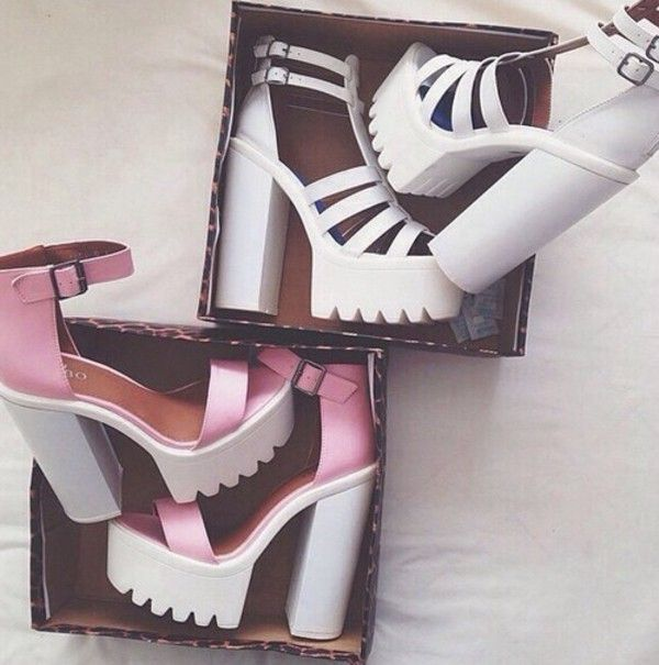 Tania Ankle Strap Platform Heels & Jessi Pink Platform Shoes. LOVE THEM! probably couldn't walk in them though.. lol
