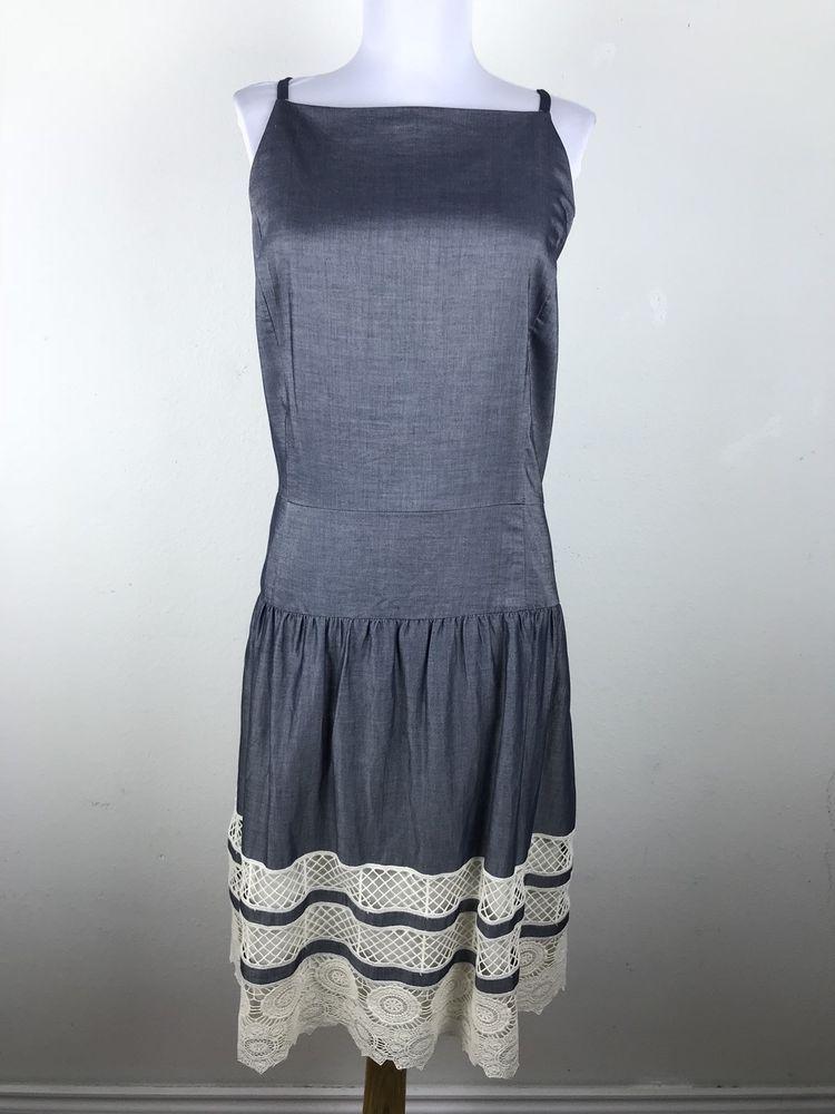 835c19a7e6 Ann Taylor Dress Plus Size 18 Chambray Blue Cream Crochet Flapper Style  Straps