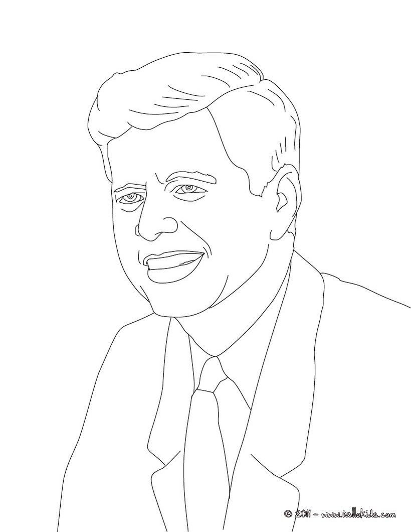 President john f kennedy coloring page