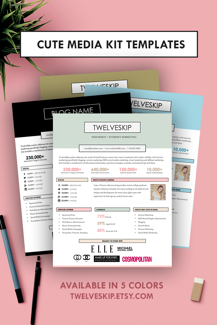 5 Punchy Easy-to-edit Media Kit Templates For Bloggers | Blogger ...