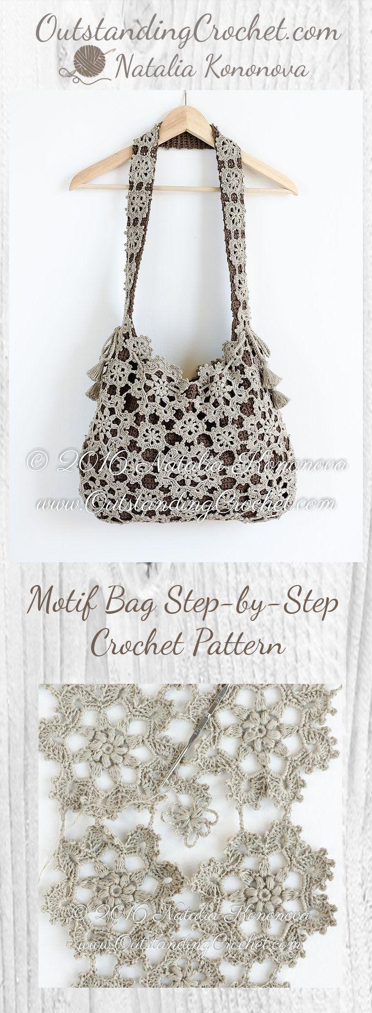 Motif Bag Step-by-Step Crochet Pattern at www.OutstandingCrochet.com ...
