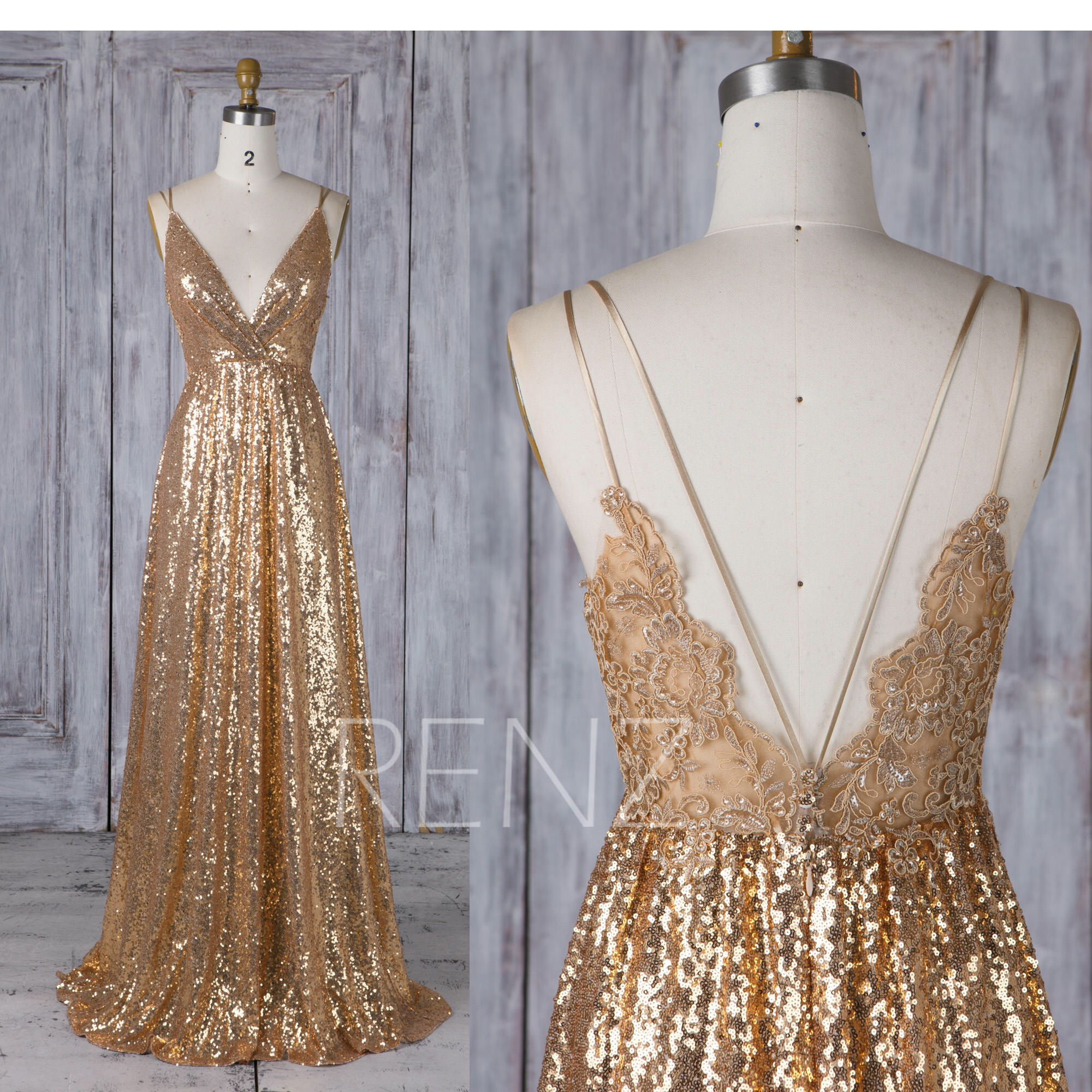Bridesmaid Dress Gold Sequin Dress Lace Boho Wedding Dress V Neck Backless Wedding Gown (HQ580)