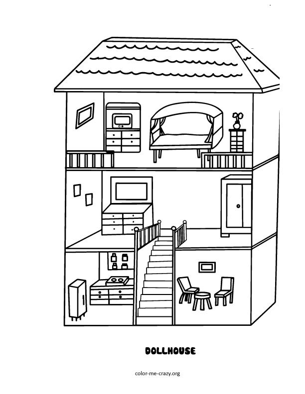 Line Art Doll House : Dollhouse coloring page kid art pages
