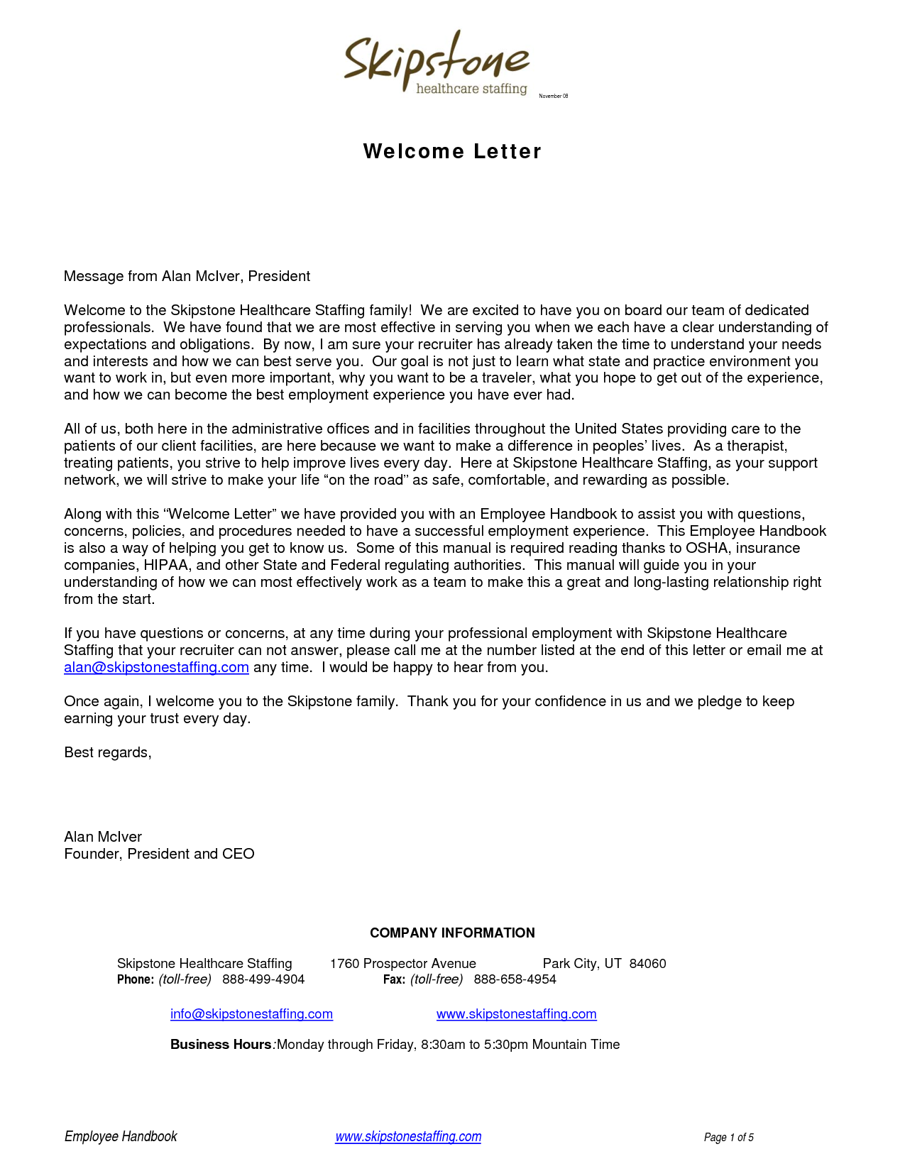 Welcome Letters BackgroundWelcome Letter Business Letter Sample ...