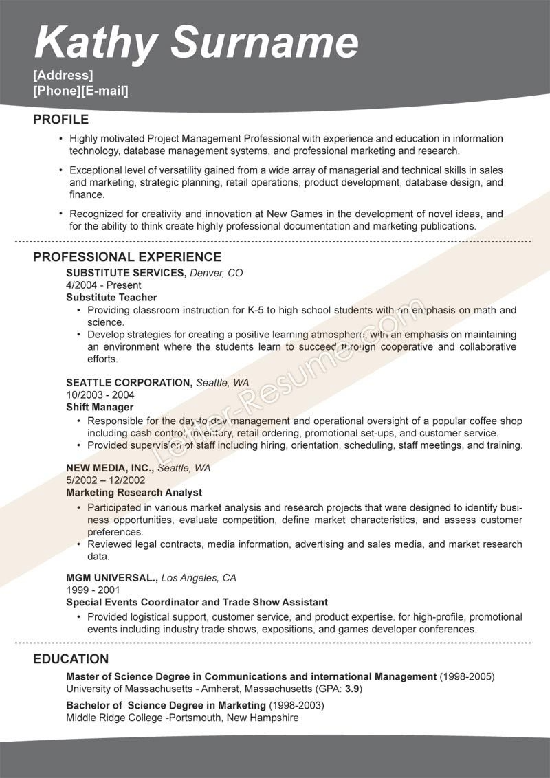 Perfect Resume Template The Best Resume Template  Resume Template Ideas  Work Ideas