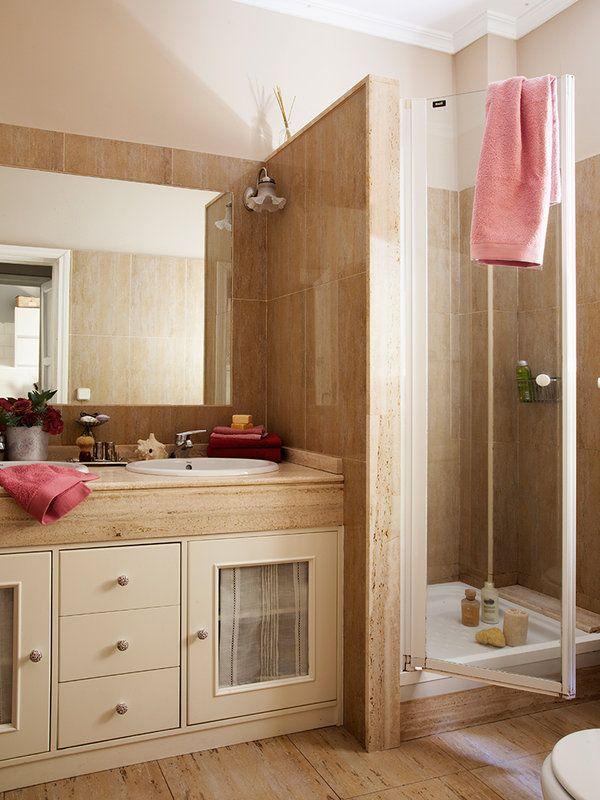 Cortina o mampara ba os bathroom vanity y deco for Cortinas para banos rusticos