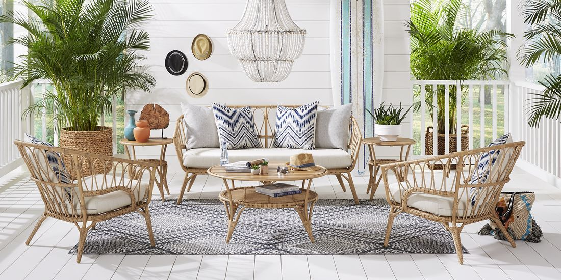 Catalina Natural 4 Pc Outdoor Seating Set Outdoor Seating Set Porch Furniture Layout Patio Seating Arrangement